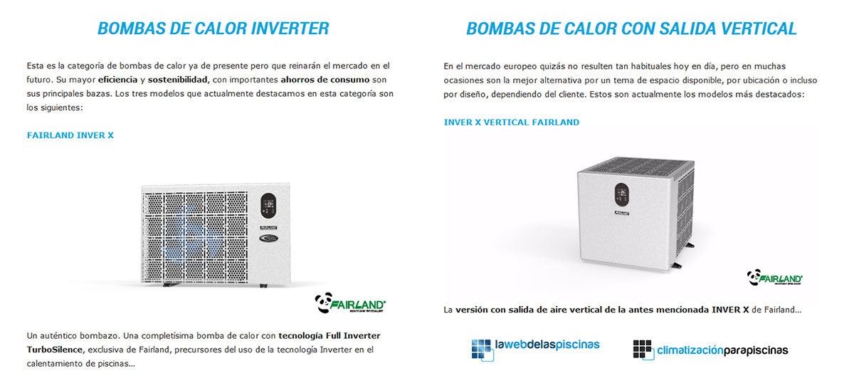 Fairland INVERX powered by TurboSilence tech Selected as one of BEST HEAT PUMP 2020 by Spanish Media La Web de las Piscinas