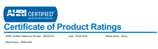 Fairland inverter pool heat pump obtained the AHRI Certificate